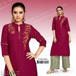 Sterling Beautiful Embroidery Work Design Kurti With Plain Plazzo Collection