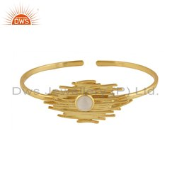 Rainbow Moonstone Gemstone Designer Gold Plated Silver Opanable Bangle