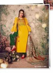 Zoyaa Heavy Modal Chanderi with Hand Work Kurti Dupatta and Pants