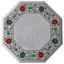 White Antique Coffee Table Top Gems Marble Inlay Pietra Dura