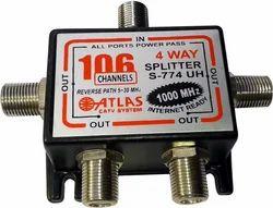 Socket 4 Way Splitter ( All Ports Power- Pass), For Rf Signal Distribution