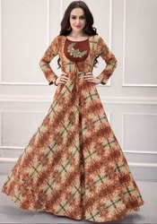 Beige and Coffee Brown Printed Rayon Gown