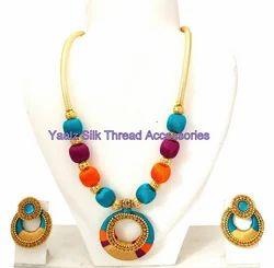 Yaalz Traditional Neck Set Matching Chand Bali Earring Combo in Turqoise, Burgundy Pink And Orange