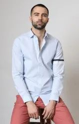 Mens Blue/White Panel Shirt