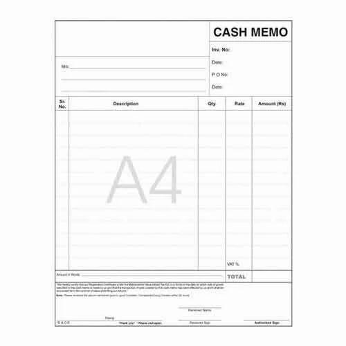 cash memo book at rs 100 piece memo book id 16391882512