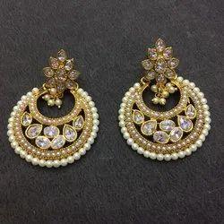 Golden Modern Kundan Chandbali Earrings
