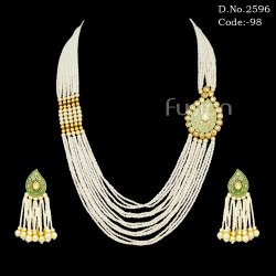 Ethnic Kundan Pearl Long Necklace Set