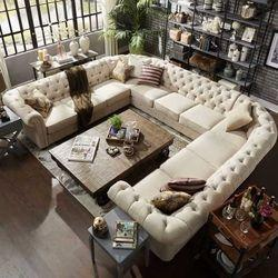 Cream U Shape Sofa Set