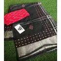 Mirror Work Cotton Linen Saree