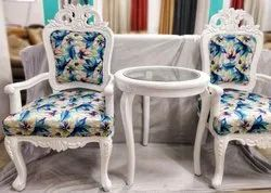 White Carving Chair and Table