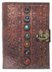 Handmade Leather Journal, Vintage Leather 7 Stone Journal