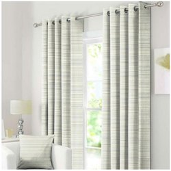 Polyester Eyelet Strips Printed Curtain