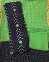 Unstitched Black and Green Bandhani