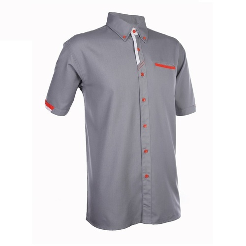 Grey Plain Cotton Worker Uniform Shirt, Size: XL