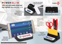 C75  Powerglow USB Hub With Mobile Stand And Logo Highlight Back USB Ports