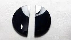Black Onyx Half Round Flat Smooth Slab Loose Gemstone Cabochon Beads