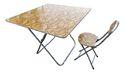 Folding Dining Table Wood Top with Chair-80x80-Tree Leaves