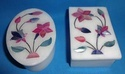 White Alabaster Marble Inlay Jewellery Boxes