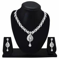 Designer Diamond Silver Plated Necklace Set