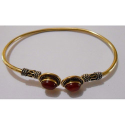Stone Brass Bangle