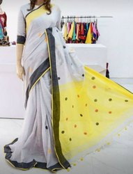Handwoven Khadi Sarees With Blouse Piece