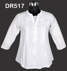 White Cotton Hand Embroidered Chikan Women's Short Top DR517