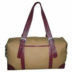 Mascular Look High Quality Leather Handle Canvas Travel Bag