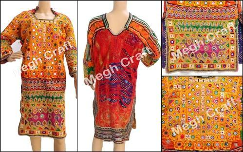 1deffb7c610 Multicolor Designer Afghani Kutchi Embroidery Mirror Work Tunic Tops ...