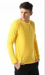 Yellow Plain Cotton T Shirt Full Sleeves