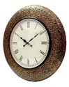 Brass Leaves Wooden Carved Round Wall Clock Size:18 Inches