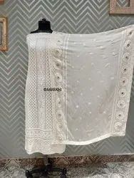 Party Wear Unstitched Lucknawi Chikan Suits