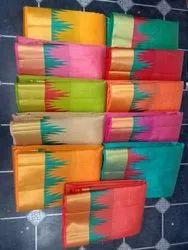 Zari Kala Niketan Temple Border Silk Saree With Blouse Piece