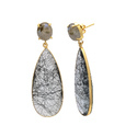 Black Rutile Quartz Energetic 925 Sterling Silver Micron Gold Plated Long Earring
