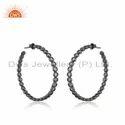 Round Hoop Earring Black Rhodium Plated Silver CZ Earrings Jewelry