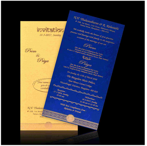 Awesome Gold Cover Blue Insert Single Sheet Wedding Card