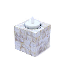 Rawsome Shack Medium Mother Of Pearl Square Shape Candle Light Stand