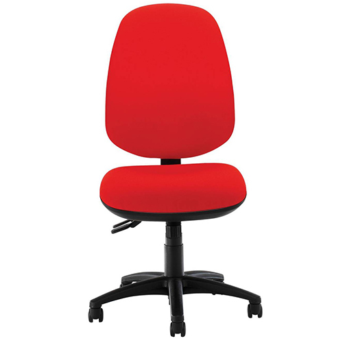 Red Armless Office Chair With Wheels