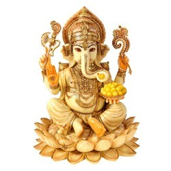 FRP Lotus Ganesh Gold work 12 inch