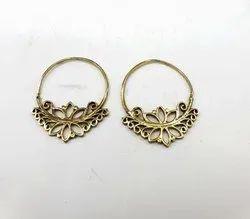 Brass Lotus Design Earring