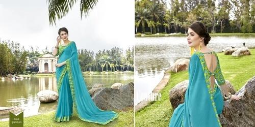 Georgette Printed Light Blue Daily Wear Saree