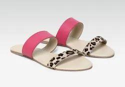 Casual Wear Women Pink & Beige Color Open Toe Flats Sandals, Size: 3-8