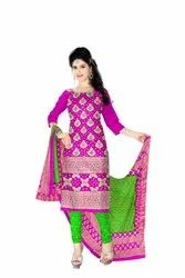 Rani And Parrot Green Color Fancy Design Gadhwal Bandhani Dress Material