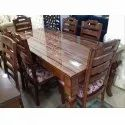 Manhattan 85 Cm Glossy Finish 6 Seater Dinning Table Set, Material: Wood