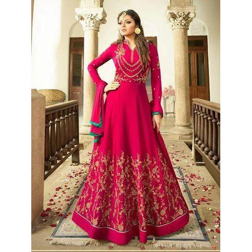 baaf617e2c3 Semi-Stitched Designer Embroidered Anarkali Suit