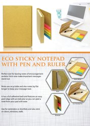 Eco Sticky Notepad With Pen And Ruler - Giftana