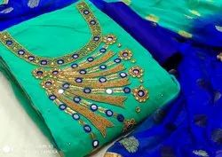Chanderi Khatli Handwork Suit