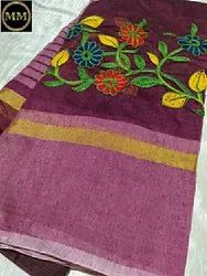 embroidery Casual Wear Cotton Sarees, Without Blouse, 6 m (with blouse piece)