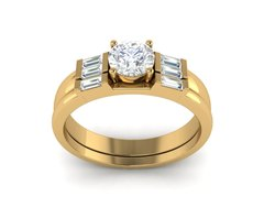 14k Gold Silver Plated Engagement Ring