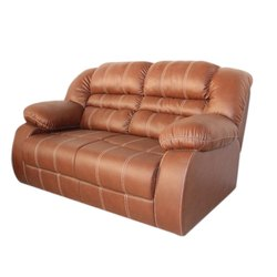 Living Woods Brown Leather Two Seater Sofa