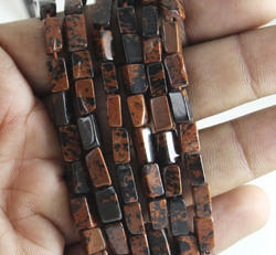 Natural Mahogany Obsidian Smooth Square Beads